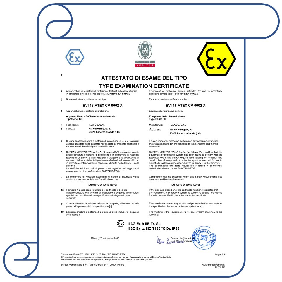 atex certification channel side certificate supplier blowers cert bureau veritas issued obtained recently va